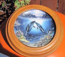 "Danbury Mint Plate Underwater Paradise ""Moonlit Moment"" in Oak Frame Le # J4493"