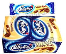 NEW MILKY WAY CRISPY ROLLS CHOCOLATE 24 x 25g CHOCOLATE BARS FULL BOX ORIGINAL