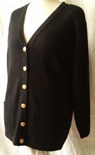 David Jones Black 100% Merino Wool Padded Cardigan Sweater Size L