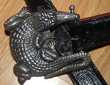 LIZARD black Randall D Moore RDM Sterling Silver 925 ALLIGATOR buckle BELT 28 30