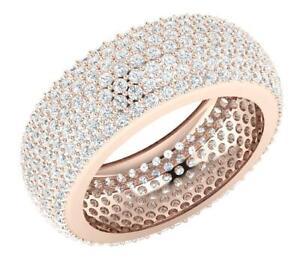 7 Row Pave Set Eternity Ring SI1 G 4.25 Carat Round Diamond 14K Rose Gold 8.10mm