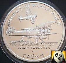1995 la Isla de Man 1 uno corona Fairey Swordfish aviones de la Segunda Guerra Mundial Moneda De Plata Prueba