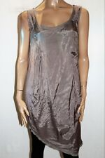 gordon smith Brand Taupe Sleeveless Shantung & Rib Dress Size 14 BNWT #TT48