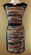 NWT New Joseph Ribkoff Black Gold Brown Teal Orange Dress US 10 UK 12
