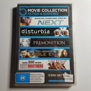 5 Movie DVD Collection   Next, Disturbia, Premonition, Eagle Eye, Four Brothers