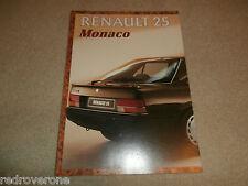 Renault 25 Monaco Brochure  1986.   Collectors condition