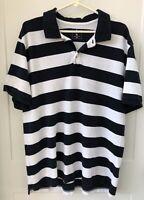 Gap Modern Pique Polo Men's XL Navy Blue White Wide Striped Nautical Shirt flaws