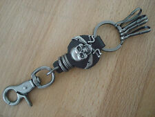 Porte cle biker porte clef motard style Harley pirate cuir metal