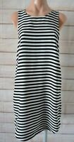 H & M Shift Dress Black White Striped Sleeveless Size Us 8 Medium