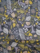 Spring flowers on grey, 100% Cotton Fabric Scrap Quilt Sew Craft