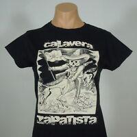 CALAVERA ZAPATISTA Women's/Juniors Black T-Shirt Short Sleeves sz M NEW w/defect