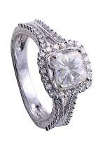 ForeverOne1.5CTW Princess Cut Moissanite & Diamond Antique Look White Gold Ring