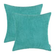 Pack 2 CaliTime Pillows Cushions Covers Corduroy Corn Striped Turquoise 45x45cm