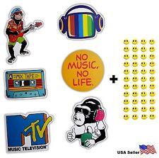 6 Skateboard Stickers Music MTV Vintage Vinyl Laptop Luggage Helmet Car Decals