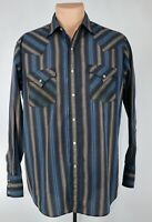 Vintage Plains Western Wear Mens Med Striped Pearl Snap Western Button Up Shirt