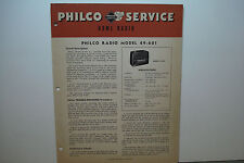 PHILCO RADIO-PHONOGRAPH SERVICE MANUAL MODEL 49-601 (8 PAGES)