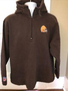 CLEVELAND BROWNS Hoodie Sweatshirt REEBOK  Men's LARGE VINTAGE Sewn logo RARE