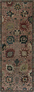 Antique T a b r i z Hand-knotted Silk Pink & Red Carpet BB7451