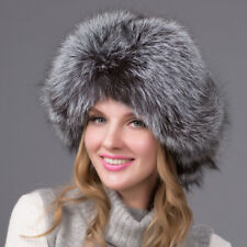f21c0b57f8f66 Women Silver Real Fox Fur Hat Russian Winter Warmer Ear Cap Ushanka Cossack  Ski