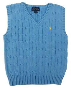 RALPH LAUREN boys Cable TANK TOP VEST 4Y Chatham Blue 100% cotton (110cm)