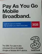Tre (3) 3g/4g SIM Ready-To-Go Mobile Broadband 3gb dati precaricati in SIM