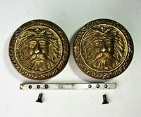 Pair Vintage Salvage Eastlake Victorian Door Knobs Figural Old Man Winter Face