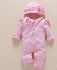 "22"" Reborn Baby Doll sweet girl Newborn pink Clothes+Hat Christmas gift Handmade"