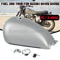 9L 2.4 Gal Motorcycle Fuel Gas Tank Cover Switch Kit For Suzuki GN125 GN250 Gray