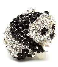 Nuevo Cristal Perla negro blanco Oso Panda Anillo Tono Plata Lindo Kawaii Ajustable