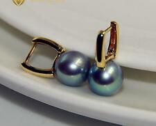Gorgeous AAA+ 8-9mm real natural Japanese Akoya gray round pearl earrings 18k