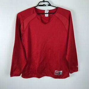 Vintage Rawlings Baseball Shirt Size L Red Long Sleeve Polyester Mens Thick
