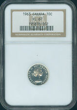 1963 CANADA 10 CENTS NGC PL67 2ND FINEST GRADED  *