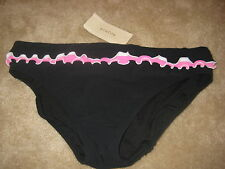 Profile Gottex Bathing Suit Size 10 Womens New Black Pink Ruffle Bikini Bottoms