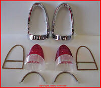 1955 Chevrolet RED Tail Light Lens Bezels KIT 10 pc Bel Air FREE SHIPPING