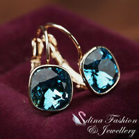 18K Rose Gold Plated Made With Swarovski Crystal Gorgeous Sapphire Hoop Earrings