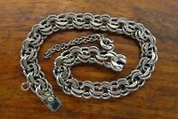 Vintage silver 1950's 1960's DOUBLE LINK CHARM bracelet FOR CHARMS w/ SAFETY