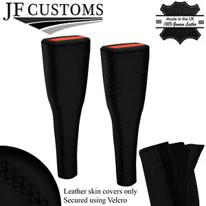 BLACK  LUX-STITCH LEATHER 2X SEAT BELT LONG COVERS FOR FIAT 124 SPIDER 16-20