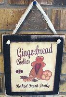 Gingerbread Cookies Hanging Wall Sign Plaque Primitive Rustic Lodge Cabin Decor