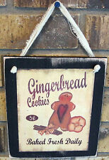 Gingerbread Cookies Hanging Wall Sign Plaque Primitive Rustic Lodge Cabin Decor