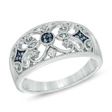 BLUE DIAMOND STERLING SILVER FILIGREE OPENWORK FINE GENUINE BAND RING ETERNITY 7