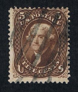 VERY AFFORDABLE GENUINE SCOTT #76 USED 1863 5¢ BROWN GRID CANCEL - ESTATE SALE