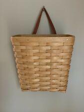 Longaberger 2003 Wall Pocket Basket Leather Handle Plastic Liner Signed