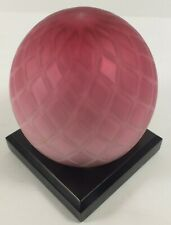 Lovely Vintage LG Wright Pink Diamond Optic Glass Large Paperweight W/ Wood Base
