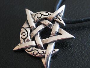 Pentagramm mit Mondsichel 925 er Silber Anhänger Gothic / KA 282