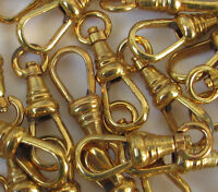 ONE Vtg pocket watch chain end clasp Lanyard Swivel clip Gold tone Repair NOS