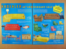 1958 Kroehler Furniture 65th Anniversary Sale sofa chair table vintage print Ad