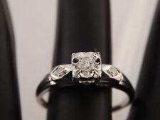14k WG .19 tcw 3 stone Diamond Engagement Ring E/SI1 Vintage Transitional Cut
