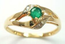 SYJEWELLERY 9CT YELLOW GOLD NATURAL ROUND EMERALD & DIAMOND RING SIZE N R1190