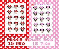 Minnie Mouse U Pick BIG RED/PINK BOW 15 precut  Bottle Cap Images Cup Cake toprs