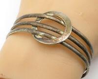925 Sterling Silver - Vintage Dark Tone Circle Detail Cuff Bracelet - B6173
